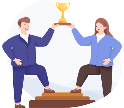 Illustration of people partnering together and succeeding